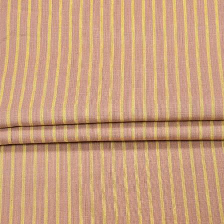 Brown Yellow Stripe Handloom Fabric-42035