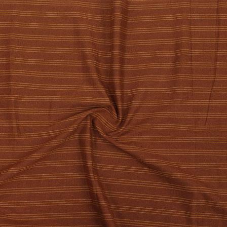 Brown Yellow Striped Handloom Khadi Cotton Fabric-40711