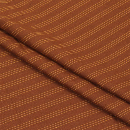 Cotton Shirt (2.25 Meter)-Brown Yellow Striped Handloom Khadi-140711