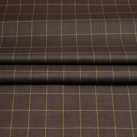 Brown Yellow Checks Wool Fabric-90241