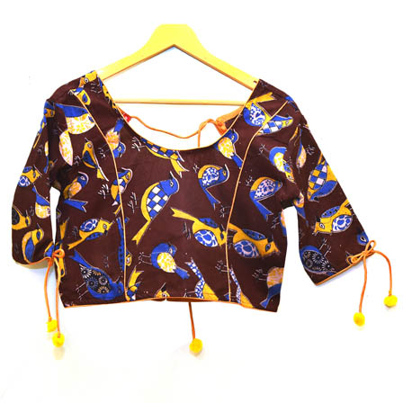 Brown-Yellow and Blue Bird Kalamkari Print Cotton Blouse-30020