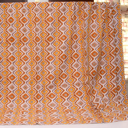 Brown-Yellow and Cream Indian Handmade Kantha Quilt-4370