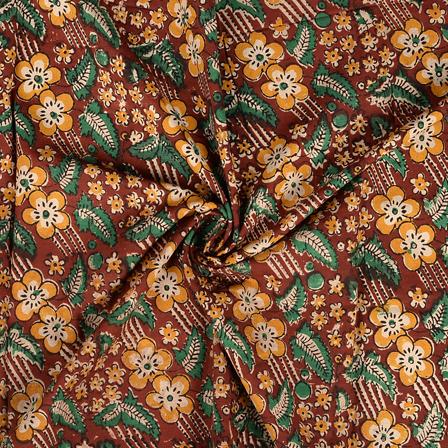Brown-Yellow and Green Floral Design Kalamkari Cotton Block Print Fabric-14390