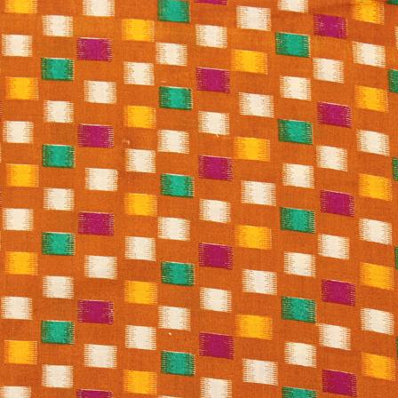 Brown-Yellow and Green Kalamkari Cotton Fabric-10026