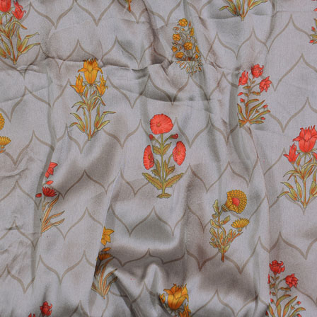 Gray Yellow and Orange Flower Japan Satin Fabric-18196