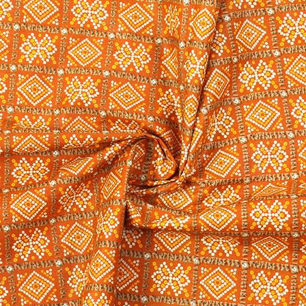 Brown-Yellow and White Square Design Kalamkari Cotton Fabric-10021