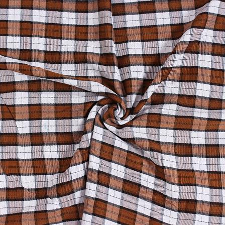Brown and Black Twill Checks On White Handloom Cotton Khadi Fabric-40055