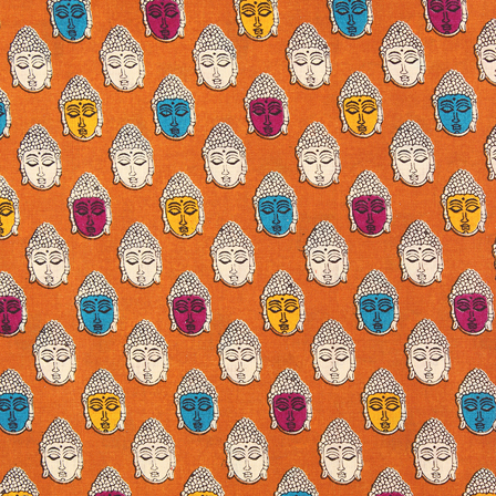 Brown and Cream Buddha Design Kalamkari Cotton Fabric-10003