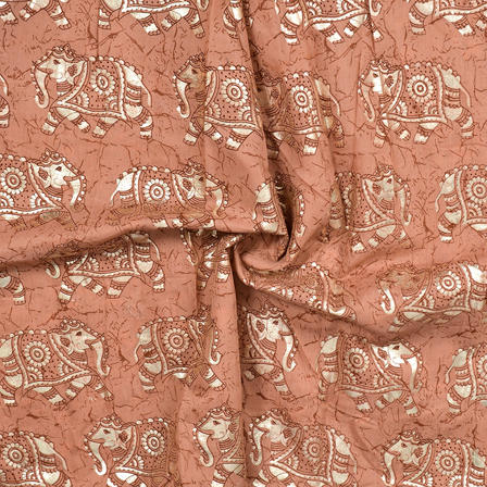 Brown and Silver Elephant Design Chanderi Silk Fabric-9001