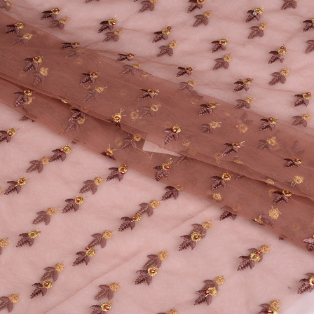 Brown and Golden Embroidery Net Fabric-60789