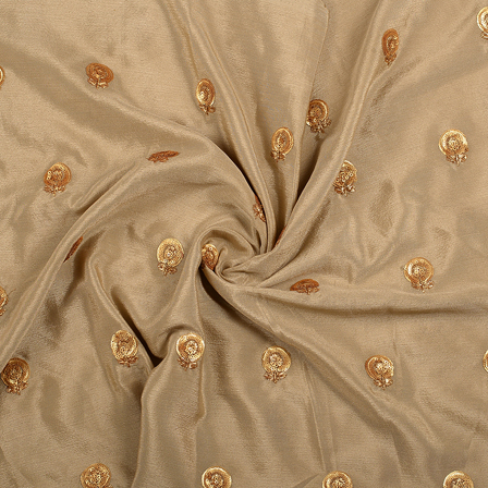 Brown and Golden Flower Malbari Embroidery Silk-60711