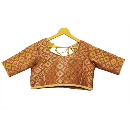 Brown and Golden Sqauare Silk Brocade Blouse-30118