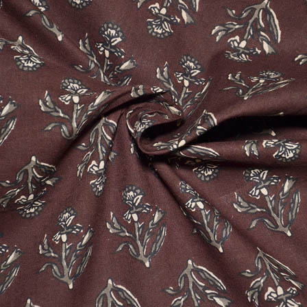 Brown and Gray Flower Shape Block Print Cotton Fabric-14036