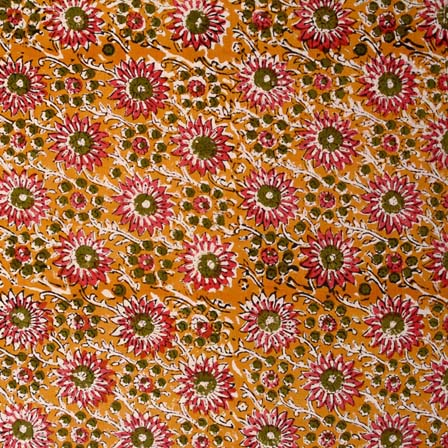 Buy brown and red flower pattern kalamkari indian cotton for Purchase fabric by the yard