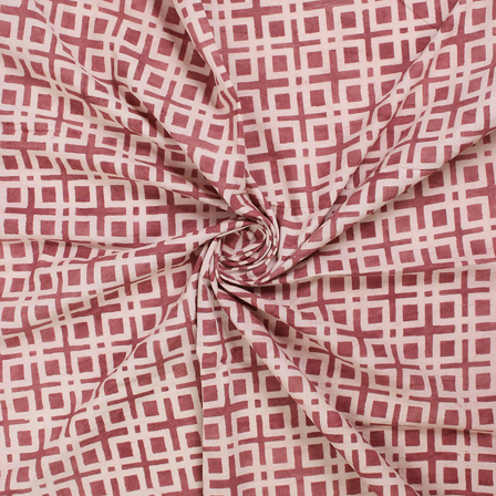 Brown and White Block Print Fabric-14553