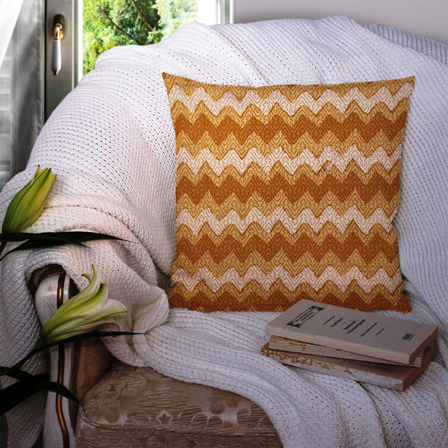 Brown and White Cotton Cushion Cover-35030