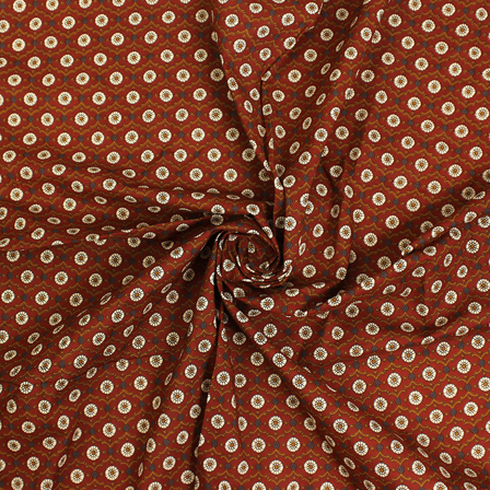 Brown and White Floral Block Print Fabric-14446