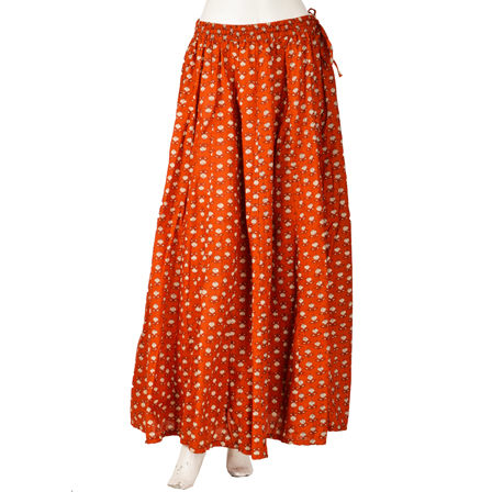 Brown and White Floral Design Block Print Cotton Long Skirt-23047