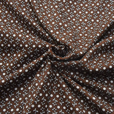 Brown and White Small Dot Design Crepe Fabric-18083