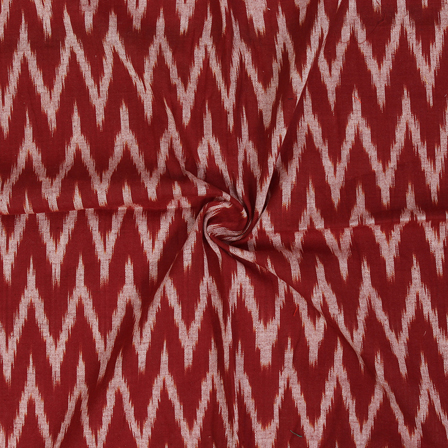 Brown and White Zig Zag Design Ikat Fabric-12053
