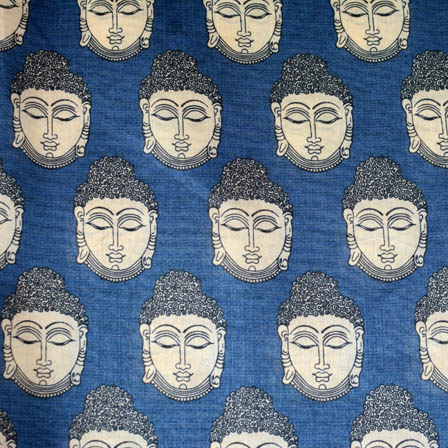 Buddha face digital printed silk fabric-4909