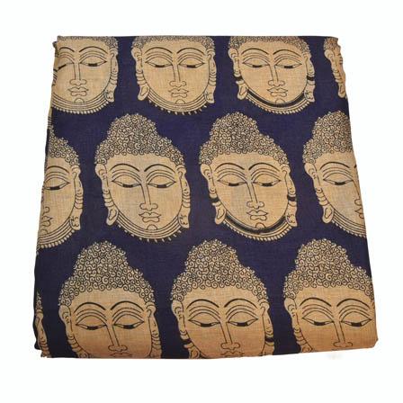 Bule and Cream Buddha Design Kalamkari Manipuri Silk-16011