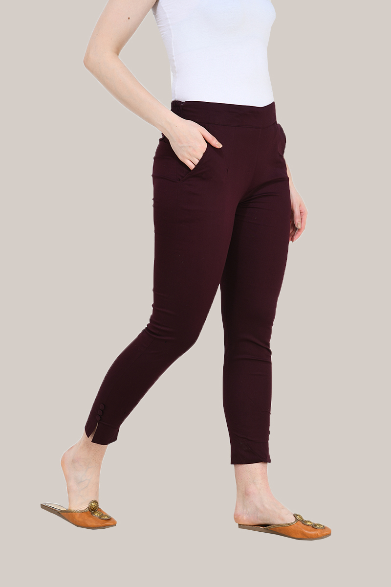 Burgundy Cotton Lycra Trippy Pant-33516