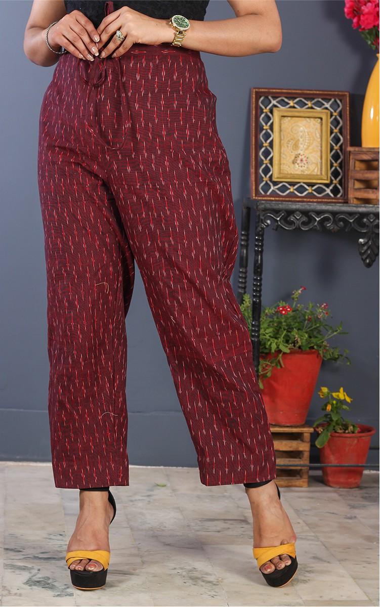 Burgundy Pink Cotton Ikat Ankle Women Pant-34697