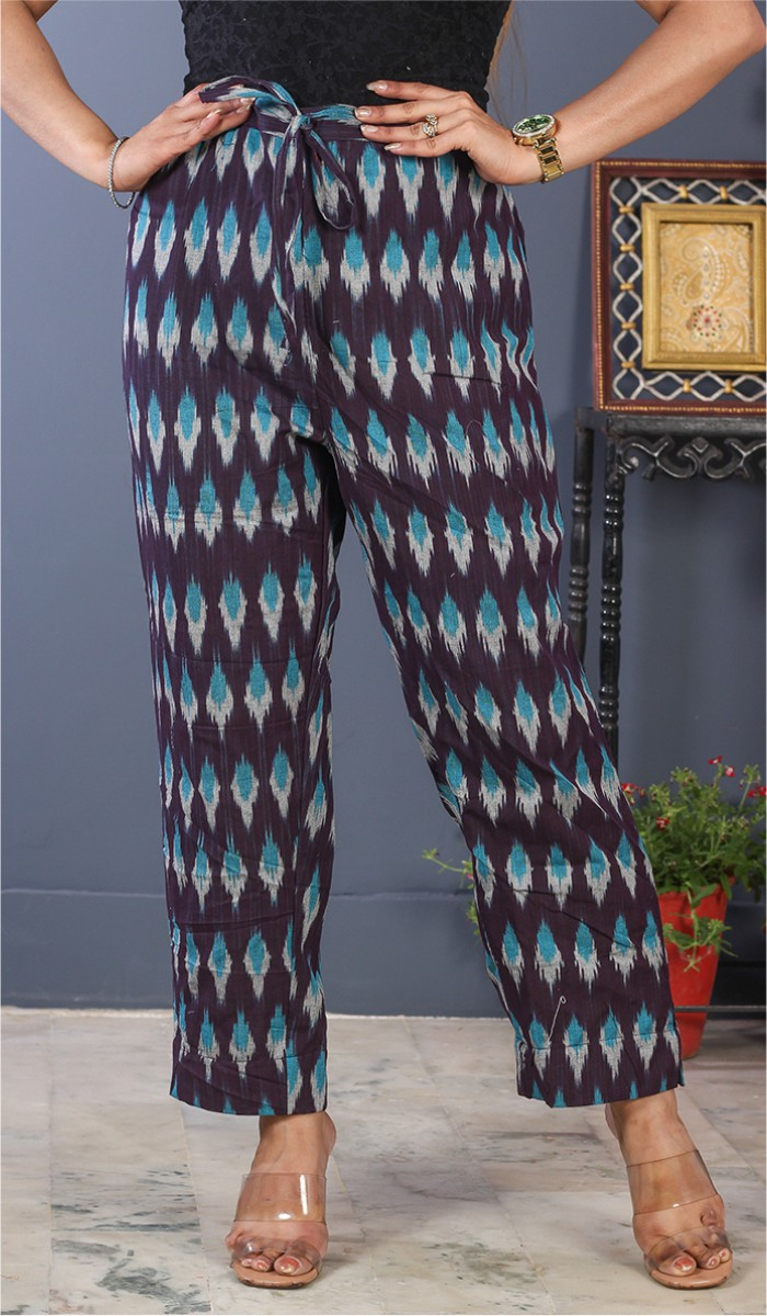 Burgundy White and Sky Blue Cotton Ikat Ankle Women Pant-34686