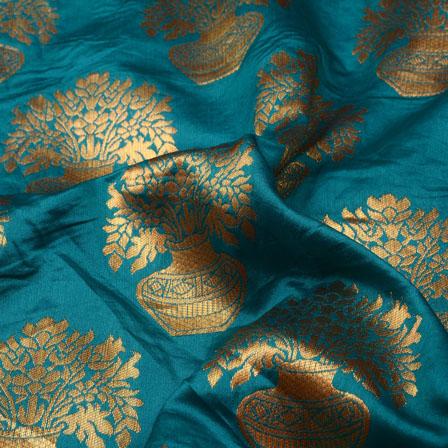 Cadet Blue and Golden Tree Pot Design Brocade Silk Fabric-5406