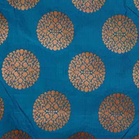 Cerulean blue and Golden Circular Flower Brocade Silk Fabric by the yard