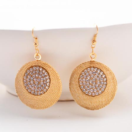 Circular Design Golden Jhumki with White Stone for Women