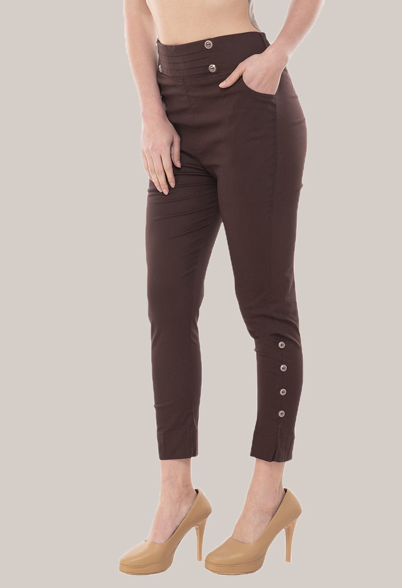 Coffee Brown Cotton Lycra Roll Up Pant-33499