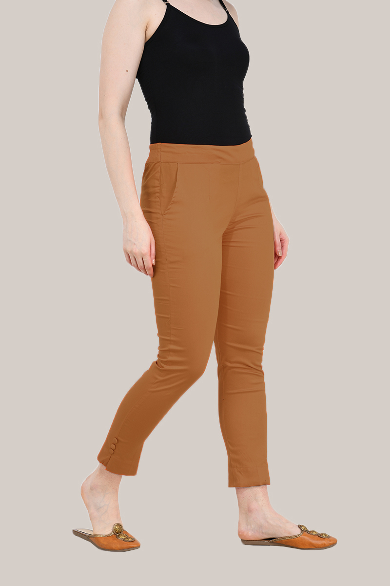 Coffee Brown Cotton Lycra Trippy Pant-33507