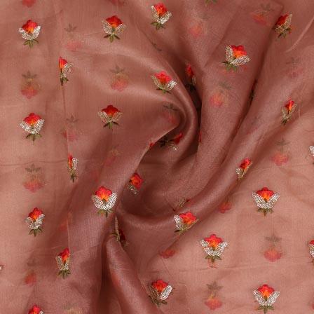 Coffee Orange Floral Embroidery Organza Silk Fabric-51684