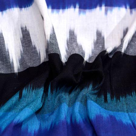 Colorful blue 3D ikat fabric-5098