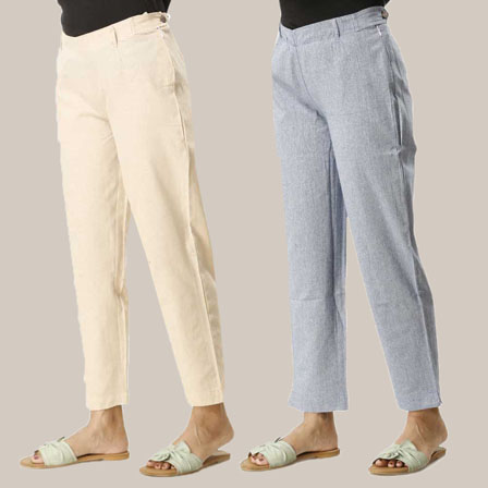 Combo of 2 Ankle Length Pants-Beig and Blue Cotton Samray-33842