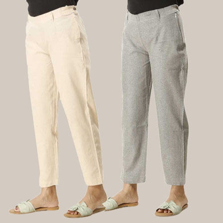 Combo of 2 Ankle Length Pants-Beige and Gray Cotton Samray-33841