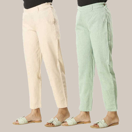 Combo of 2 Ankle Length Pants-Beige and Green Cotton Samray-33834
