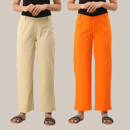 Combo of 2 Ankle Length Pants-Beige and Orange Cotton Samray-33806
