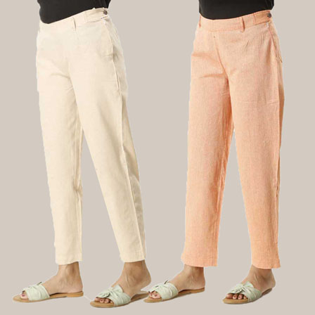 Combo of 2 Ankle Length Pants-Beige and Orange Cotton Samray-33843
