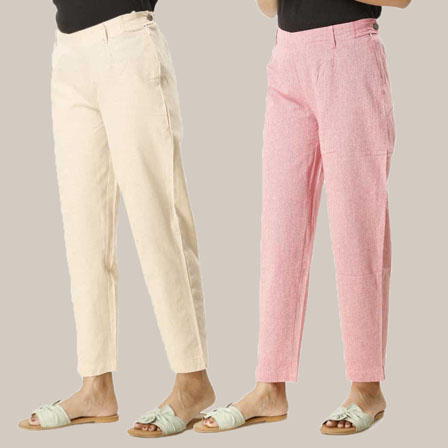 Combo of 2 Ankle Length Pants-Beige and Pink Cotton Samray-33840