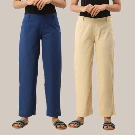 Combo of 2 Ankle Length Pants-Blue and Beige Cotton Samray-33802