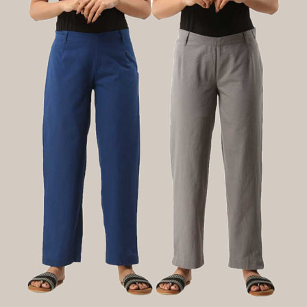 Combo of 2 Ankle Length Pants-Blue and Gray Cotton Samray-33809