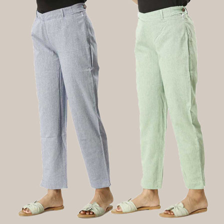 Combo of 2 Ankle Length Pants-Blue and Green Cotton Samray-33848