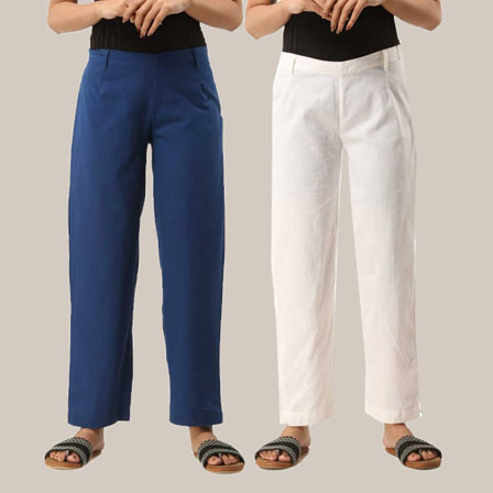 Combo of 2 Ankle Length Pants-Blue and White Cotton Samray-33808