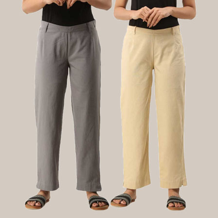 Combo of 2 Ankle Length Pants-Gray and Beige Cotton Samray-33812