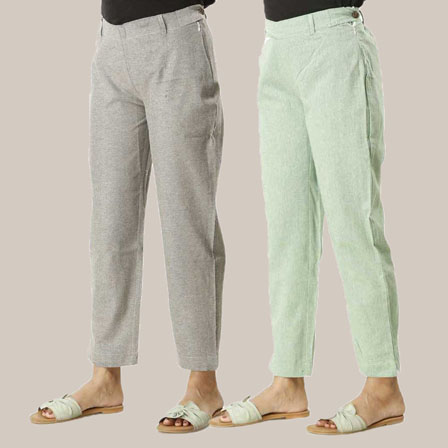 Combo of 2 Ankle Length Pants-Gray and Green Cotton Samray-33839
