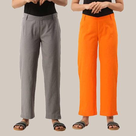 Combo of 2 Ankle Length Pants-Gray and Orange Cotton Samray-33799