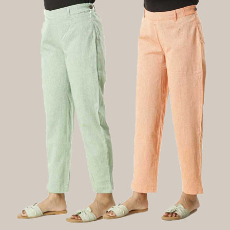 Combo of 2 Ankle Length Pants-Green and Orange Cotton Samray-33838